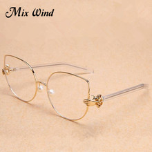 Mix wind New Super Fancy Fashion Women famous Brand Design palm flat mirror nose shaped pearl cat eye glasses frame eyewear