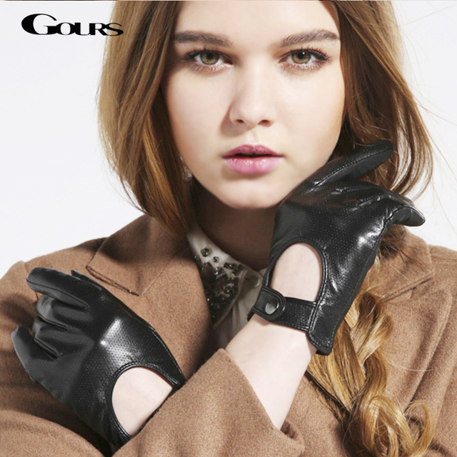 Gours frauen Winter Echtem Leder Handschuhe Neue Mode Marke Damen Schwarz Ungefüttert Fahren Handschuhe Ziegenleder Handschuhe GSL010