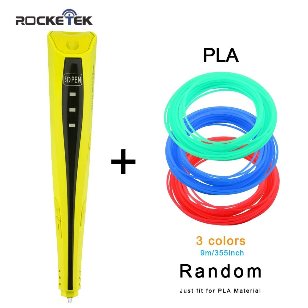 Rocketek 3D Pens Kids Graffiti DIY Gift 3D Printing Pen With free 3 Color PLA Best