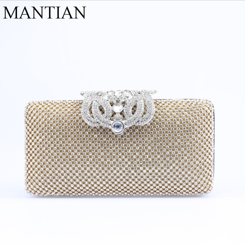 NEW crown diamonds women evening bags rhinestones clutches purse silver/gold evening bag small chain shoulder bag стоимость