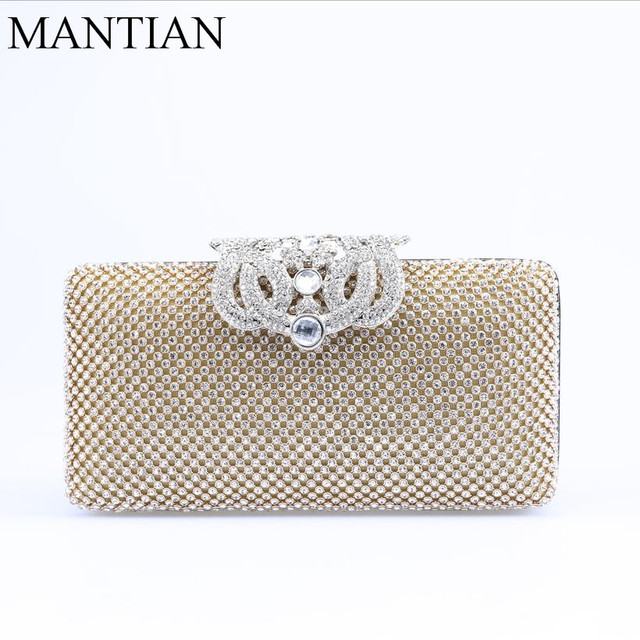 New Crown Diamonds Women Evening Bags Rhinestones Clutches Purse Silver Gold Bag Small Chain