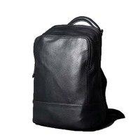 Подлинная кожаный рюкзак для ноутбука для мужчин высшего качества Мягкая воловья сумка для женщин 2019 винтажная Черная задняя упаковка