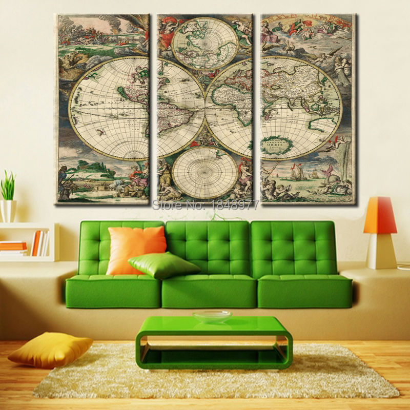 Buy 3 pieces wall art vintage world map for House decoration pieces