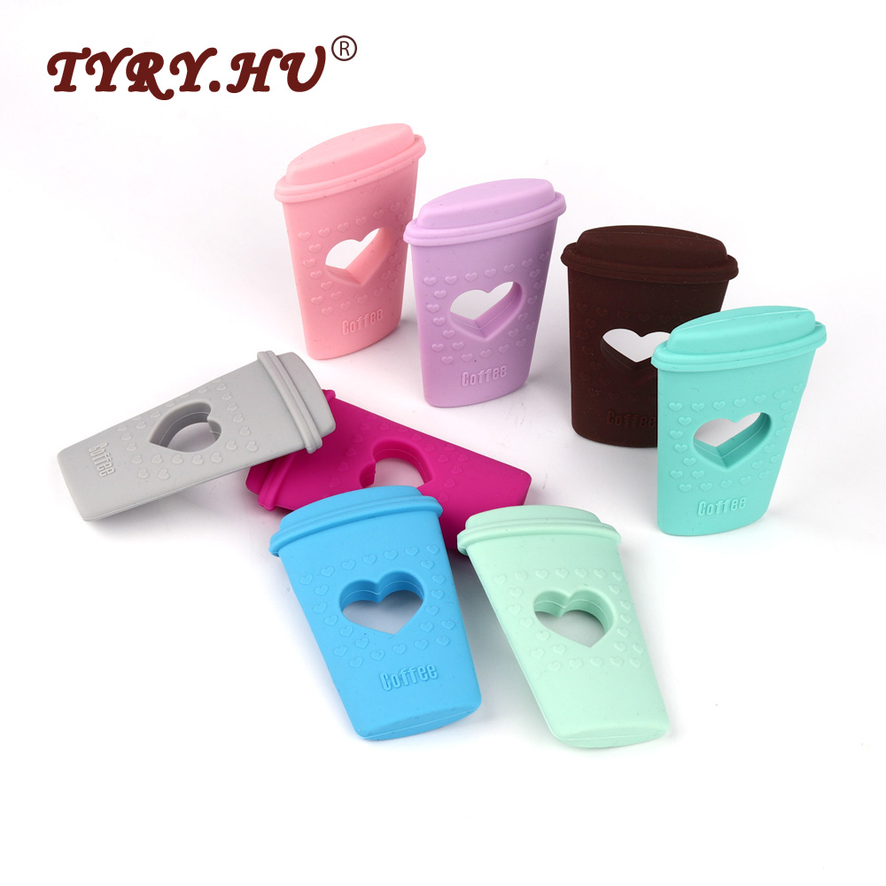 TYRY.HU 1Pc BPA Free Baby Teethers Food Grade Silicone Mordedor Coffee Cup Shaped Baby Teething Toys Chewable Silicone Teether