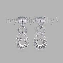 Твердые 14 к белые золотые круглые 4,5 мм Серьги с полукреплением 0.26ct бриллиант 585 золотые серьги-капли для женщин ювелирные изделия с бриллиантами WE053