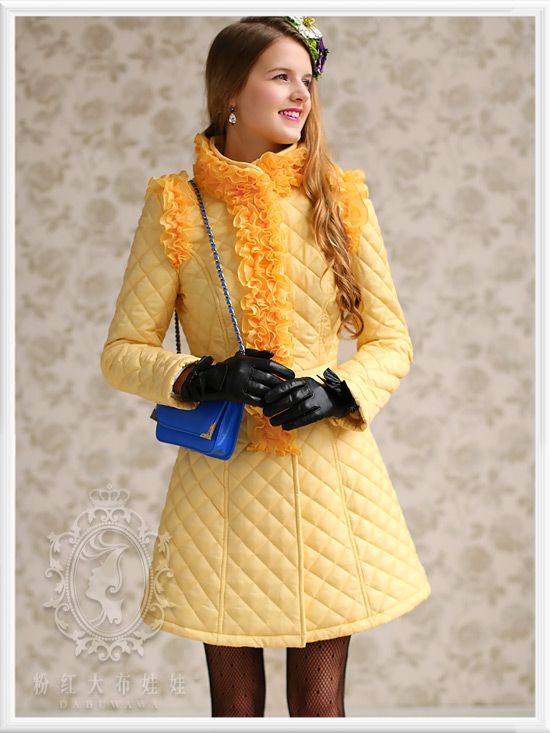 DABUWAWA original new fashion 2016 brand yellow ruffle hem plus size slim elegant casual skirt long parka women wholesale