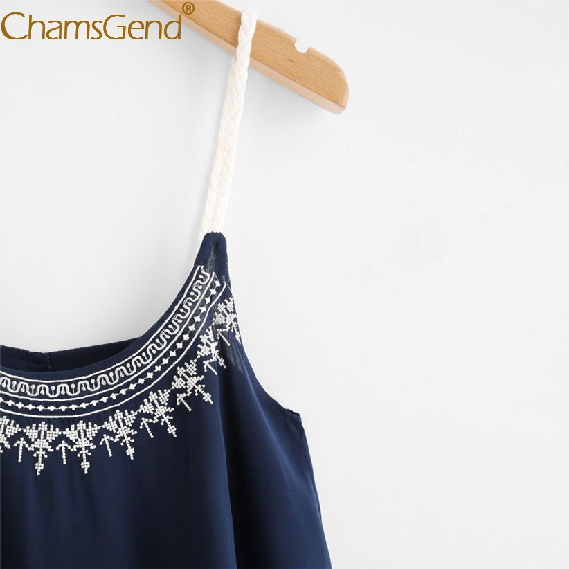 Chamsgend Women Sexy Bohemia Jacquard Pattern Rope Strap Light Weight Loose Camis Blouse 80316
