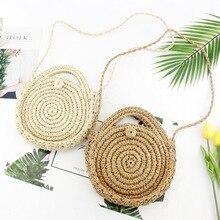 цена 2019 Newest Hot Women Shoulder Bag Boho Style Circular Straw Rattan Wicker Woven Round Messenger Handbag Beach Travel Purse в интернет-магазинах