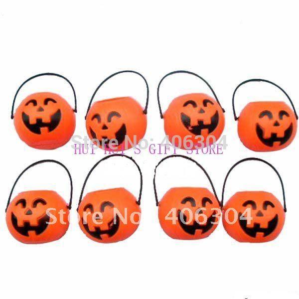 free shipping 100pcslot small plastic halloween pumpkin pot7cm7cm - Plastic Pumpkins