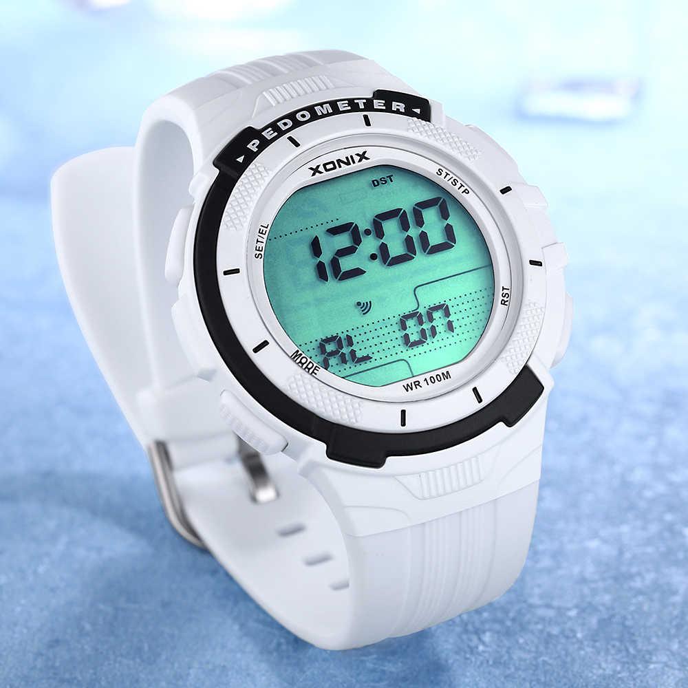 חם!!! מד צעדים קלוריות נשים ספורט שעונים עמיד למים 100 m דיגיטלי שעון ריצה שחייה צלילה שעוני יד Montre Femme