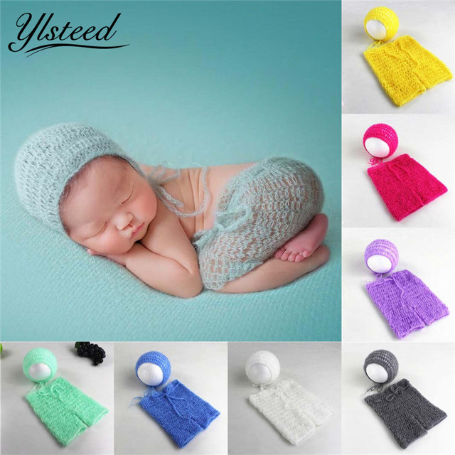 5c4e3a3e02809 Newborn Picture Props Baby Crochet Mohair Hat Costumes Set Infant Clothes  Knit Beanies Newborn Baby Photography Props Photoshoot