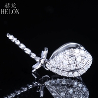 HELON Real Natural Diamonds Pendant Solid 14K White Gold 9mm Round Pearl Semi Mount Engagement Wedding Pendant Dangle Jewelry