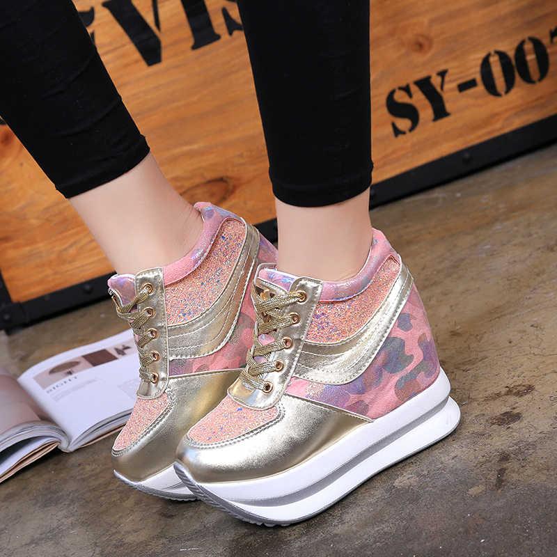 2019 ฤดูใบไม้ร่วงผู้หญิง Wedges รองเท้าแฟชั่นผู้หญิงรองเท้าสบายๆหญิงความสูงที่เพิ่มขึ้นผู้หญิงรองเท้าผ้าใบ