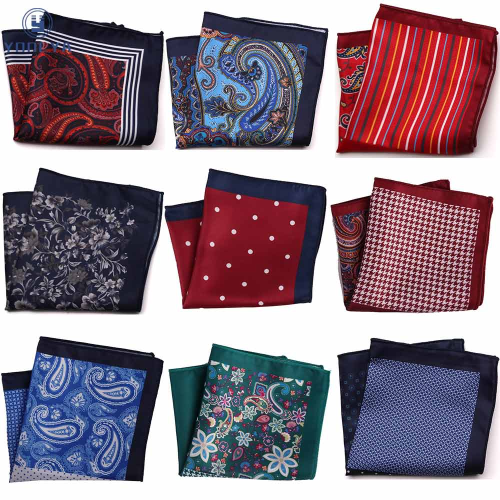 Luxury Paisley Floral Men Pocket Square Hanky Classic Wedding Party Handkerchief Soft Silk Vintage Hankies Chest Towel
