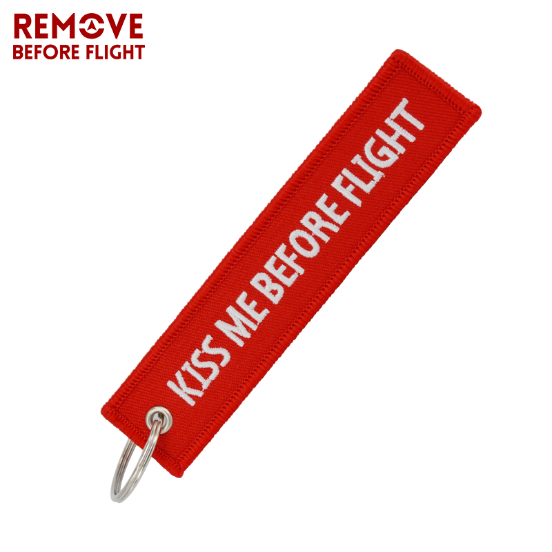 Kiss Me Before Flight Key Chain Anahtarlik Label Red Embroidery Key Ring Special Key Chain For Aviation Gifts Car Keychains