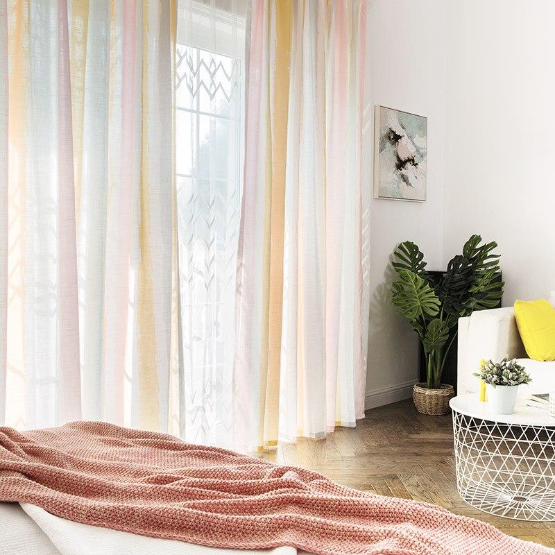 Custom vorhänge moderne Einfache Nordic druck bunte Gerade streifen wohnzimmer schlafzimmer fenster tuch blackout vorhang M385 - 2