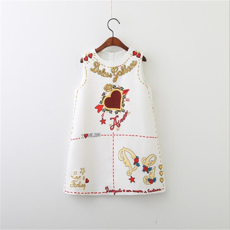 Baby Girls Dresses Sleeveless O-neck Toddler Dress Lovely Heart Through The Heart Design Embroidery Children Clothes Baby Jurk