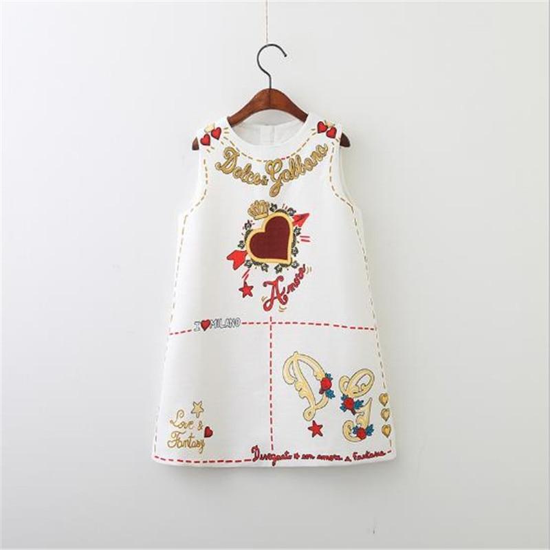 Baby Girls Dresses Sleeveless O-neck Toddler Dress Lovely Heart Through The Heart Design Embroidery Children Clothes Baby Jurk