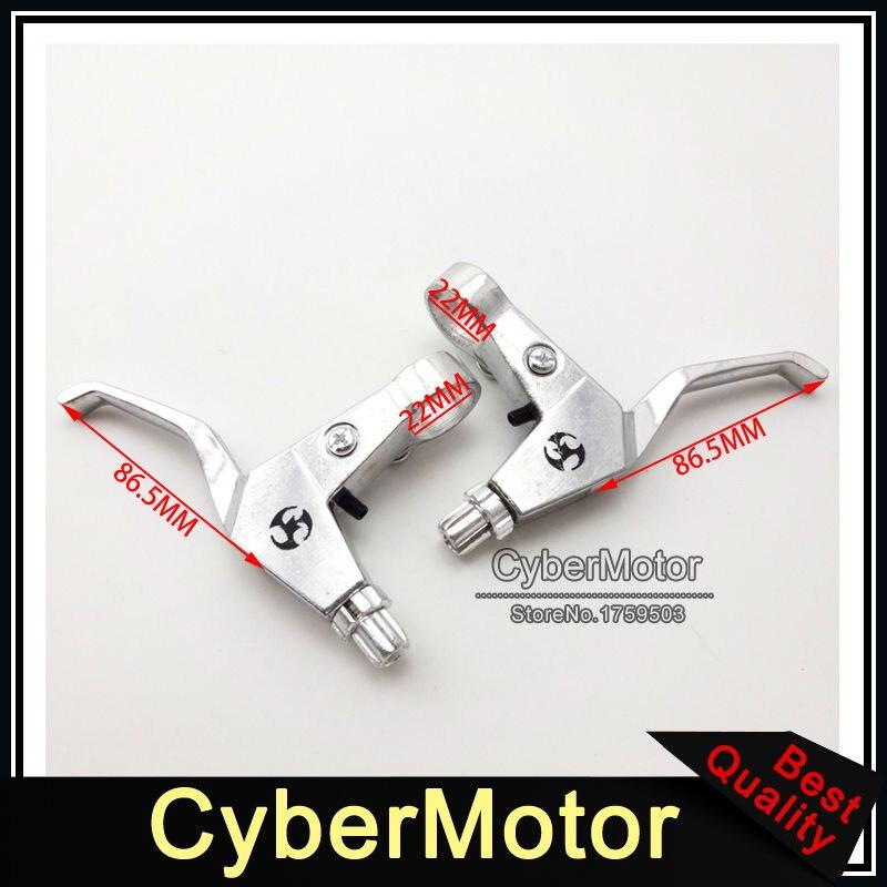 7/8'' Alloy Chrome Right Left Handle Brake Levers For 43 47cc 49cc 2 Stroke Chinese Mini Chopper Kids Pocket Dirt Bike Minimoto