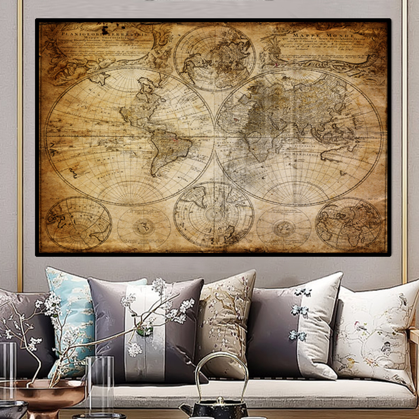SVITY Classic Vintage World Map Canvas Painting Art Vintage Poster Wall Picture Nordic Home Study Room Decoration No Frame A036 in Painting Calligraphy from Home Garden