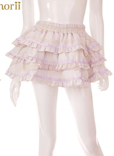 Милая юбка принцессы в стиле Лолиты Bobon21, оригинальная, на заказ, Marca dragon, сетчатая, кружевная, многослойная, бальная юбка в стиле лотоса, мини-юбка B1197 - Цвет: purple