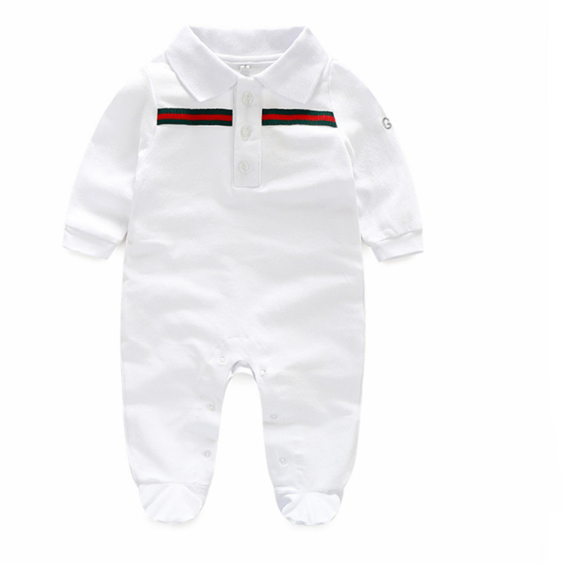2019 Spring European Baby white and dark blue Short sleeve cotton piece   Romper   climbing clothes baby boys and girls   Romper   Sets