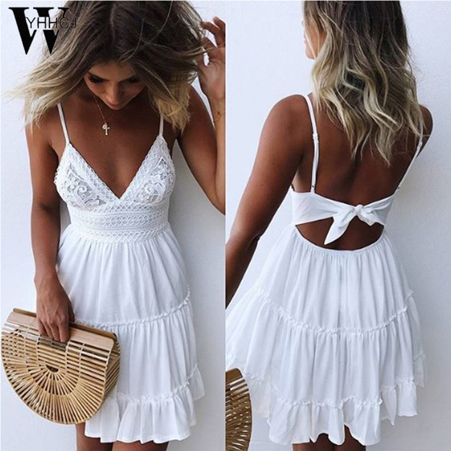 WYHHCJ 2018 backless Donne Sexy Indietro Piegano il Vestito Cocktail Party Slim Short Beach Party Mini Abiti Donna Bianco/Nero Abito di pizzo