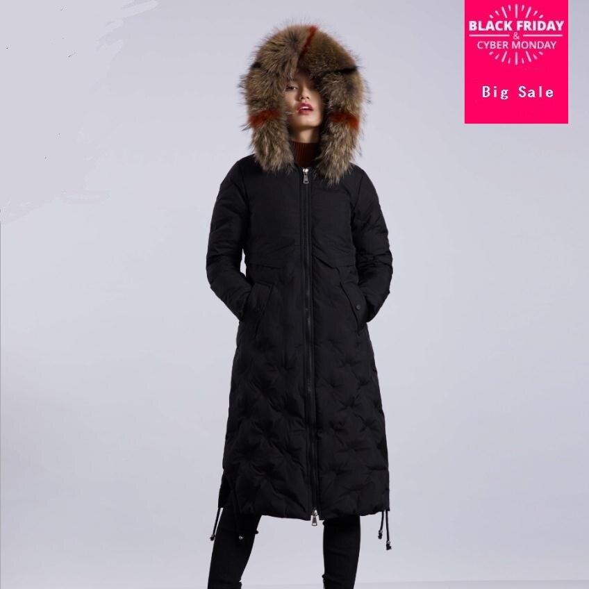 2019 Winter fashion brand good quality 90% real duck   down     coat   female real fur collar hooded long warm   down     coats   wq129 dropship