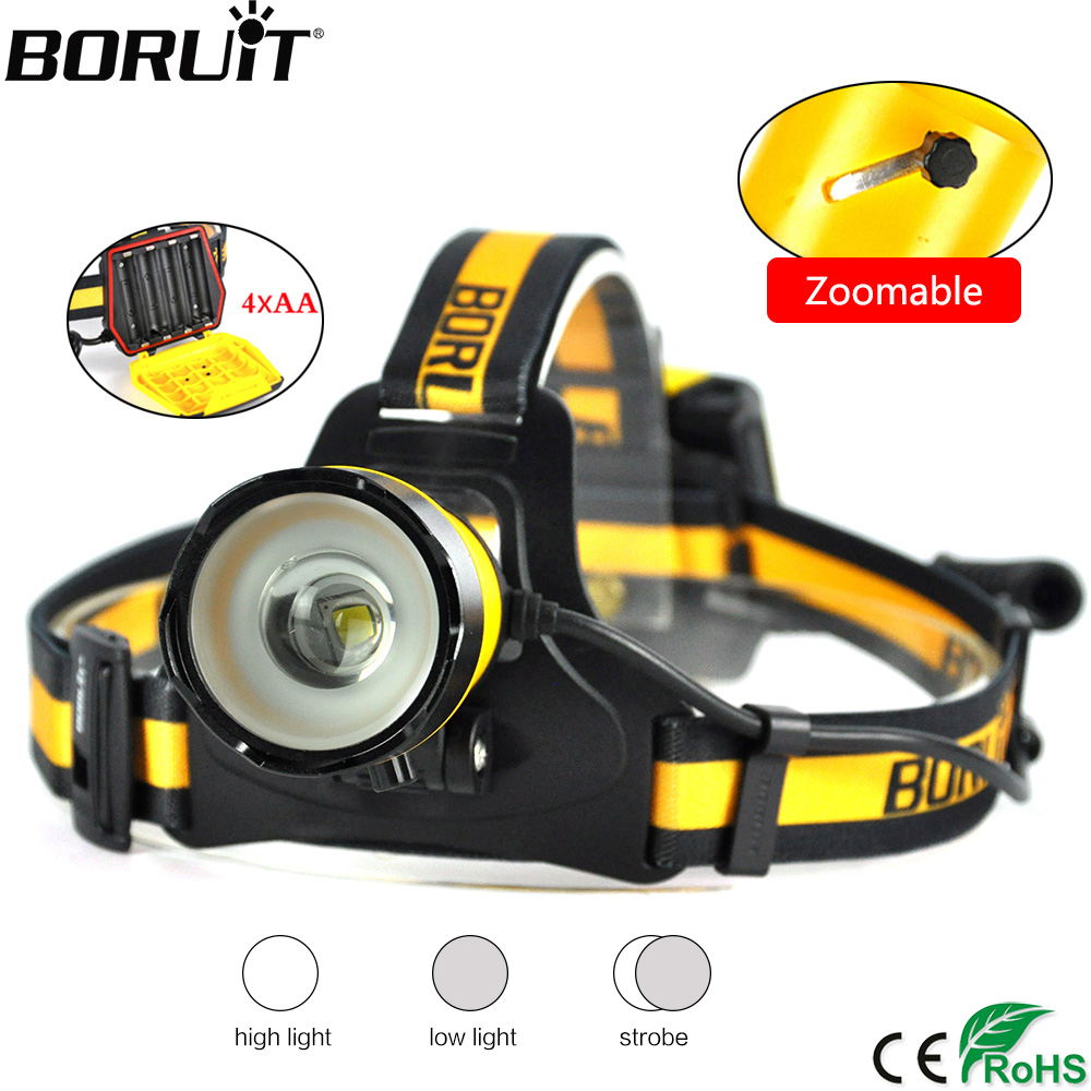 BORUiT B16 2000lumens XM-L2 LED Headlamp 3-Mode Zoom Headlight IPX5 Waterproof Head Torch Camping Hunting Flashlight AA Battery