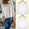 S-XLSummer Women Shirt Loose Design White Lace Blouse Lady Chiffon Patchwork Long Sleeve Tops Sexy Skeleton Roupa Feminina T79