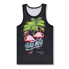 Beach Casual Flamingo Vest Men Fashion Undershirt Boys Tank Tops Loose Hip Hop Music Breathable Undershirt Men Brand Vest Shirt
