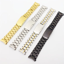 Silver /Gold / Goldsmith/Black Stainless Steel Solid Links Watch Band Strap Bracelet Curved End Arc Degree 18/19/20/22mm tool