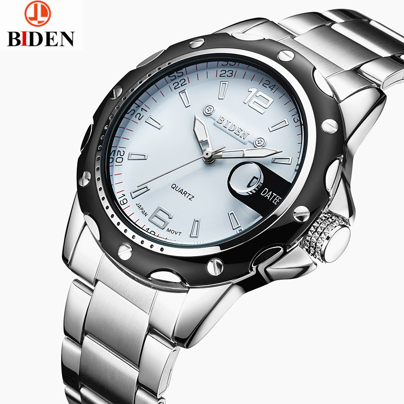 купить luxury brand mens stainless steel quartz watches black white calendar luminous man clocks waterproof original male wristwatch недорого