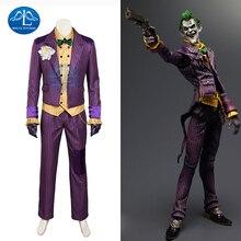 New Batman Arkham Asylum Joker Cosplay Costume For Man Halloween Custom Made Men's Outfit roux m asylum
