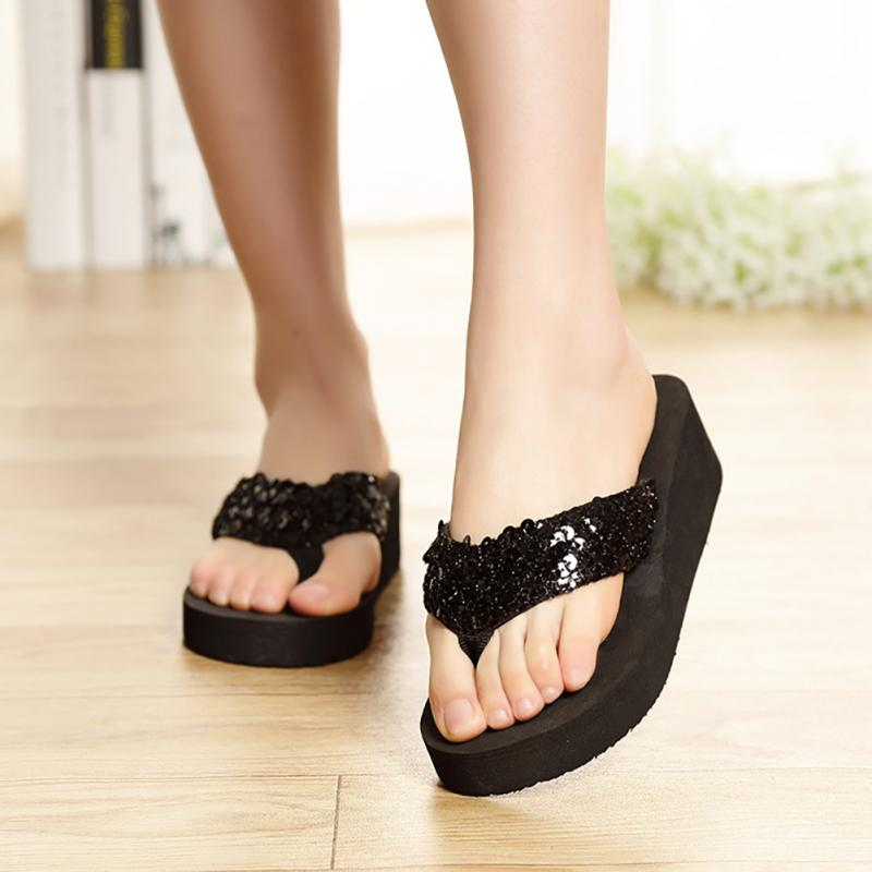 Women Slippers  EVA Flip Flops Summer Outdoor 2019 Women Slippers Ladies Sequins Platform Wedges Beach Woman Shoes