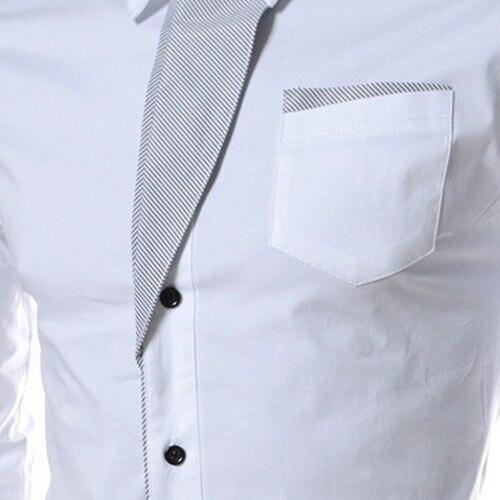 ГОРЯЧАЯ ПРОДАЖА! Осень Случайный Мужчина С Длинным Рукавом Полосой Рубашки Социальный Блузки Slim Fit Рубашки