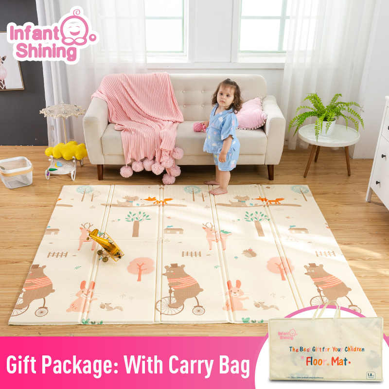 Infantile brillant bébé tapis de jeu pliant XPE ramper Pad 180*200 cm maison Portable extérieur pliant imperméable Puzzle Carprt tapis de jeu - 2