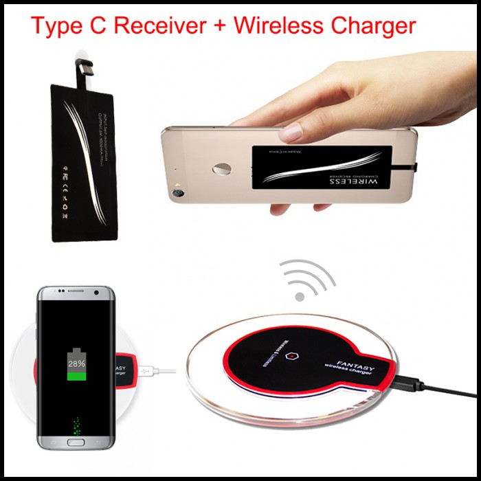 Type C Wireless Charger Charging Kit Adapter Receiver For