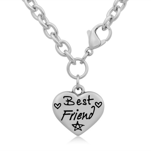e17423e1c 10 unids lote mejor amigo estampado corazón encanto nunca se desvanecen de acero  inoxidable encanto COLLAR COLGANTE moda joyería SCN-160
