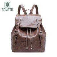 BOYATU Luxury Cow Leather Original High Quality Women Female Fashion Travel Packbacks Elegant Durable Noble Modle