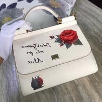 Известный Роскошные женские сумки дизайнер марки сумка с принтом роз сумки с цветами натуральная коровья кожа кожаные Сумки Sac основной