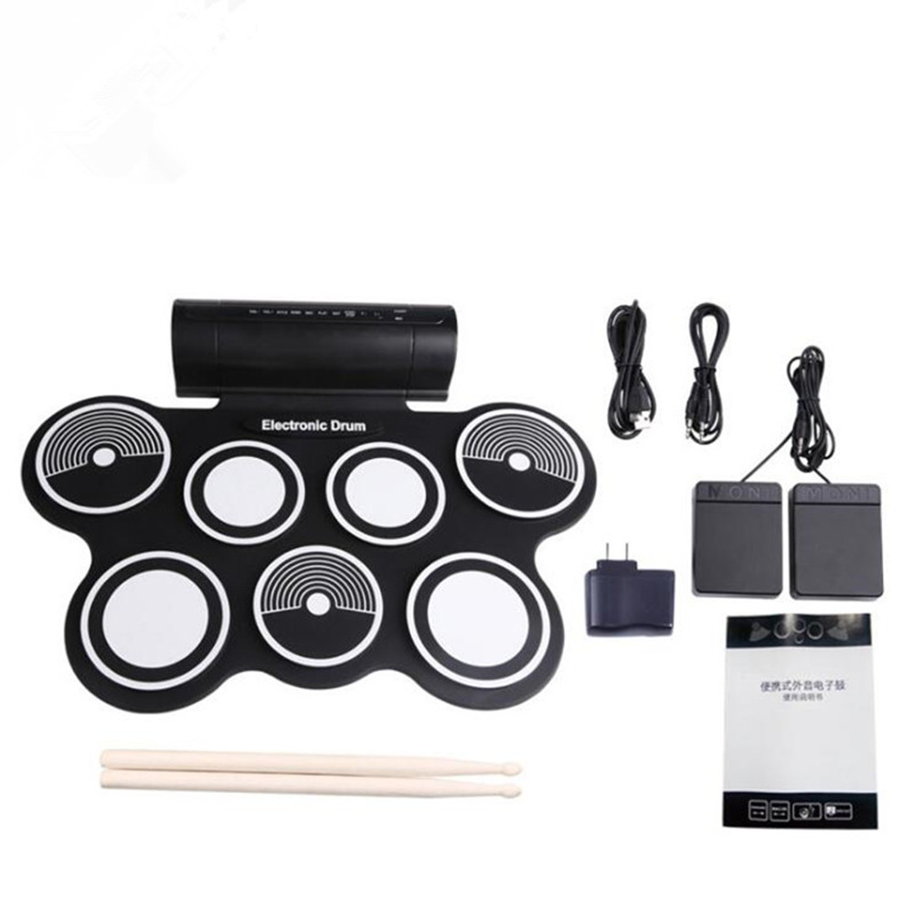ZONAEL Electronic Roll-up Drum Kit Foldable Silicone Portable Acoustic Electronic Drum With Drumstick Foot Pedal Foldable