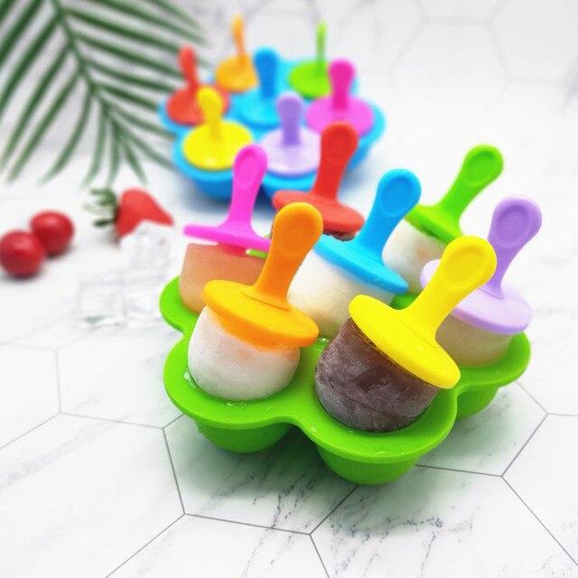 Силиконовые 7 отверстий формочки для льда в виде фруктового льда производитель кубиков льда контейнеры для хранения мороженое DIY формы многоразовые Кухня инструменты