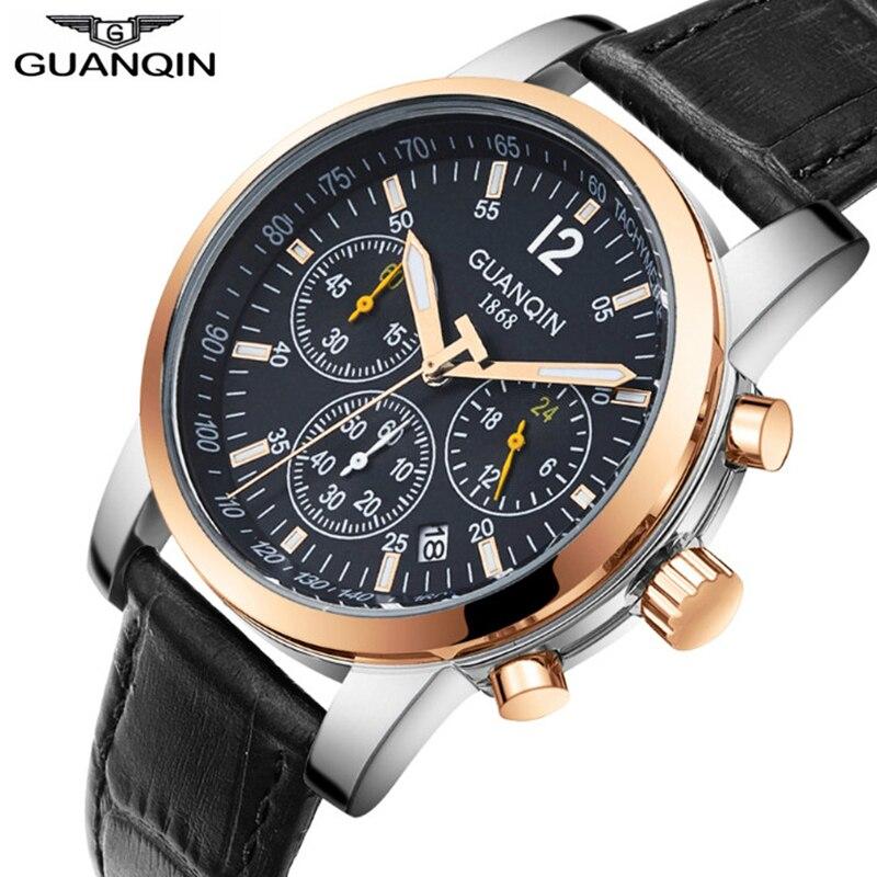 GUANQIN 2018 Luxury Business Mens Watches Top Brand Chronograph Quartz Watch Men Calendar Luminous Waterproof Relogio masculino