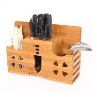 Convenient Practical Bamboo Knife Block Toolholder Kitchen Knife Rack Storage Rack Multifunction Grinding Insert Toolholder