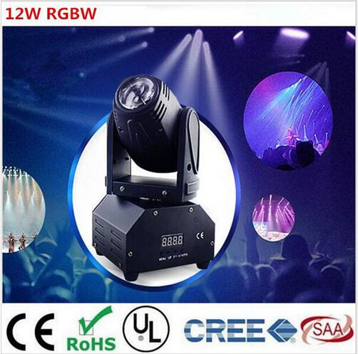 12W RGBW 4in1 moving head DMX512 light beam Lights LED spot Lighting DJ Show Disco Laser Light цена