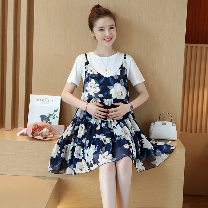 New Summer Expectant Mother Casual Chiffon Dress T-shirt Dress Loose Maternity Dress Print Pregnant Women Clothes