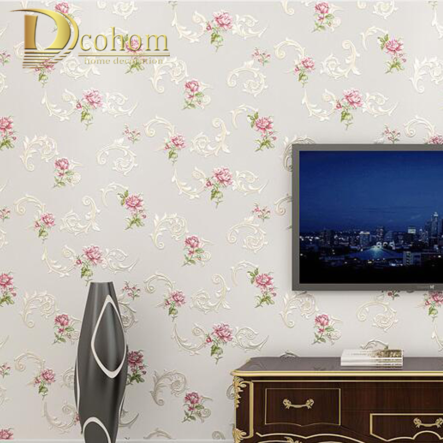 3D En Relief Papier Peint Européenne Fleur Home Decor Vinyle Murale Papier Peint Chambre Salon Fond Revêtements Muraux