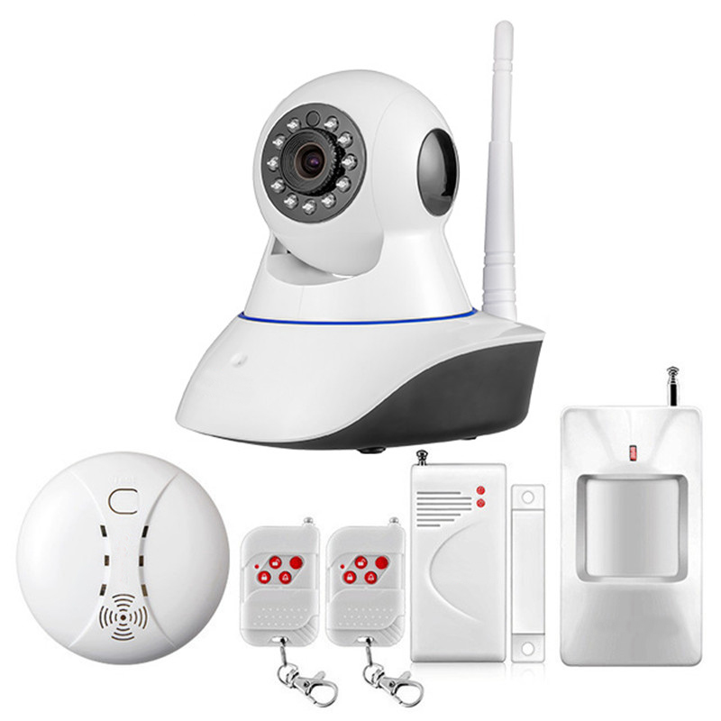 WiFi IP Camera Home Burglar Security Smoke Fire Detector Alarm System+IOS/Android YOOSEE App Remote Control Network Alarm System