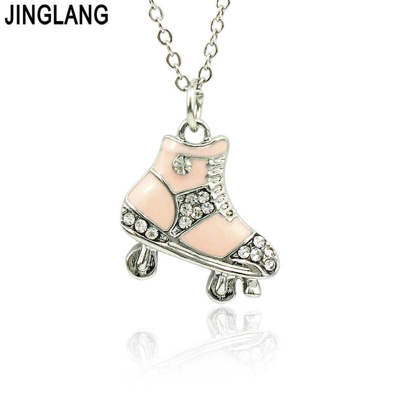 JINGLANG Brand New Fashion Metal Rhinestone Roller Skates Charm Pendants Necklace For Children Jewelry Gift